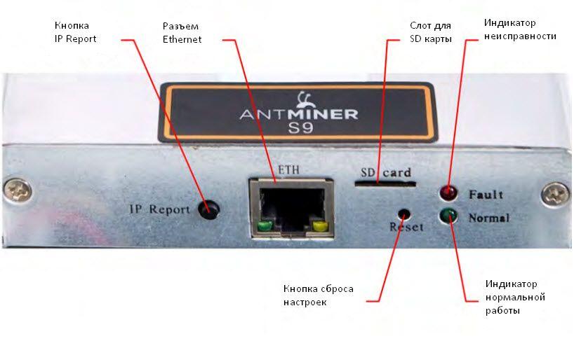 Панель управления Antminer S9